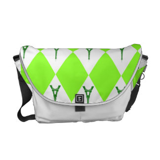 A girly neon green diamond eiffel tower pattern commuter bag
