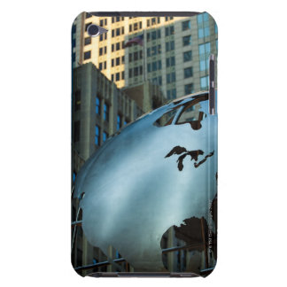 A globe with a stainless steel North America Barely There iPod Cases