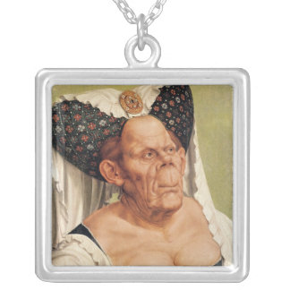 A Grotesque Old Woman, possibly Princess Margaret Square Pendant Necklace