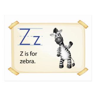 A letter Z for zebra Postcard