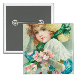 A Loving Thought Maiden with Bonnet 15 Cm Square Badge