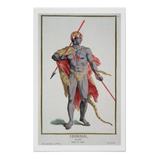 A Man from the Caribbean, 1780 (coloured engraving Poster