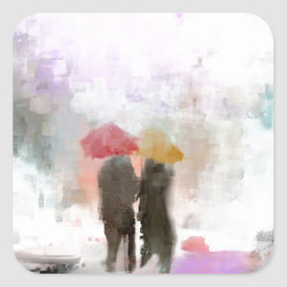 A Meeting in the Rain Square Sticker