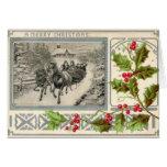 A Merry Christmas, Horse Drawn Sleigh, 1907 Vintag Greeting Card