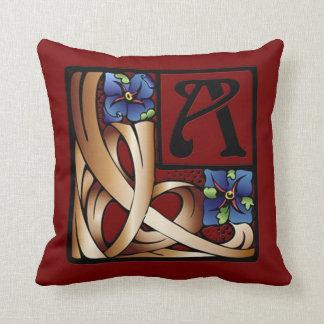 """""""A"""" Monogram Art Nouveau Square Pillow #1 Cushions"""