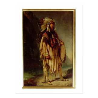 A North American Indian in an Extensive Landscape, Postcard