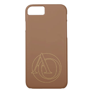 """A&O"" your monogram on ""iced coffee"" background iPhone 7 Case"