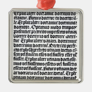 A page of the 'Grammaire Latine' Silver-Colored Square Decoration
