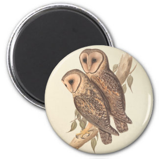 A Pair of Masked Barn Owls on a branch (painting). 6 Cm Round Magnet