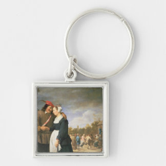 A Peasant Wedding, 1648 Silver-Colored Square Key Ring
