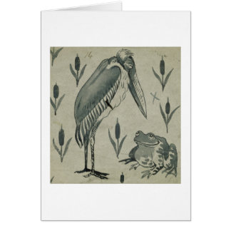 A Pelican and Frog in Conversation (w/c on paper) Greeting Card