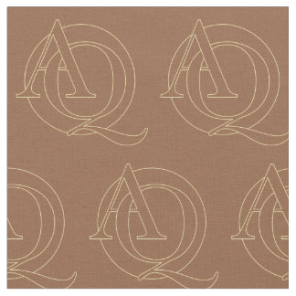 """A&Q"" your monogram on ""iced coffee"" color Fabric"