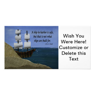 A Ship in Harbor Photo Greeting Card