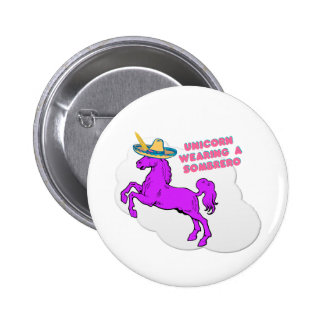 A unicorn wearing a sombrero 6 cm round badge