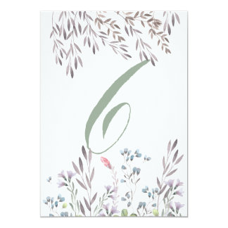 A Wildflower Wedding Table No. 6 Double Sided Card 13 Cm X 18 Cm Invitation Card