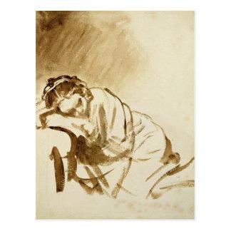 A Young Woman Sleeping  c.1654 Postcard
