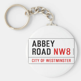 Abbey Road Street Sign Basic Round Button Key Ring