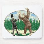 ABE LINCOLN: SASQUATCH HUNTER - Funny Bigfoot Logo Mouse Pad