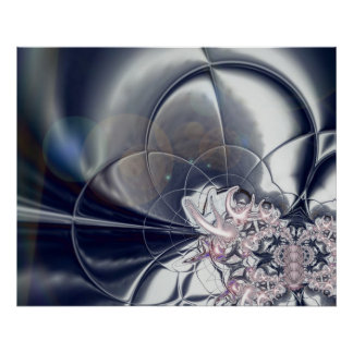 Abstract Art Poster Silver And Pink Pearls
