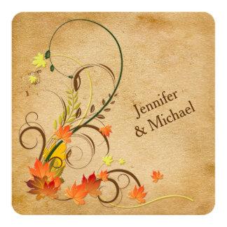 Abstract Autumn Leaves, Vines Wedding Invitation