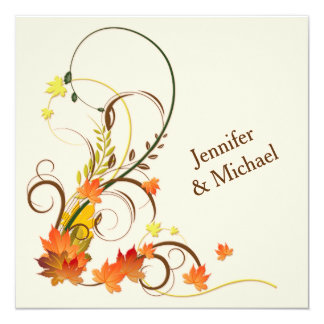 Abstract Autumn Leaves, Vines Wedding Invite 2