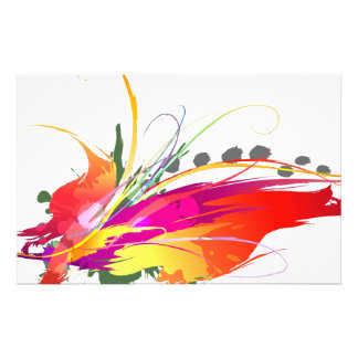 Abstract Bird of Paradise Paint Splatters Personalized Stationery