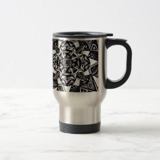 Abstract Black and White Stainless Steel Travel Mug