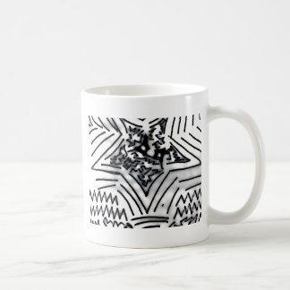 """Abstract Black/White """"Star"""" Basic White Mug"""