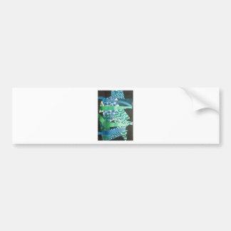 abstract blue green bumper sticker