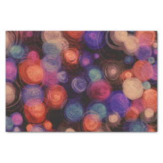 "Abstract Circles Pink Orange Purple Black 10"" X 15"" Tissue Paper"