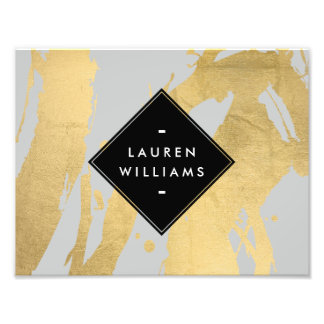 Abstract Faux Gold Foil Brushstrokes on Gray Art Photo