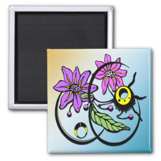 Abstract Floral - Purple & Pink Magnet