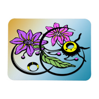 Abstract Floral - Purple & Pink Premium Magnet