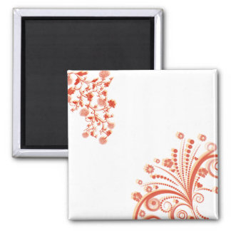 Abstract Floral Square Magnet
