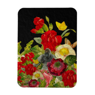 Abstract Floral Textured Rectangular Photo Magnet