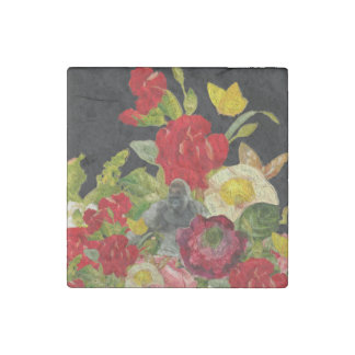 Abstract Floral Textured Stone Magnet