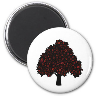 Abstract Floral Tree 6 Cm Round Magnet