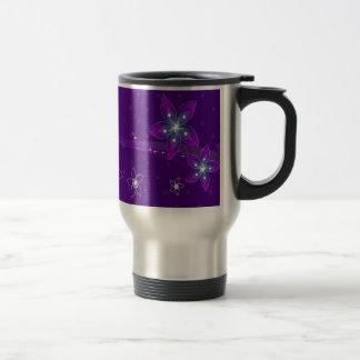 Abstract Flowers Purple Various Stainless Steel Travel Mug