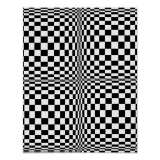 Abstract Geometric Cool 3D Black White Squares Poster