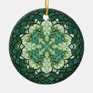 Abstract Green Ivy Mandala Ornament