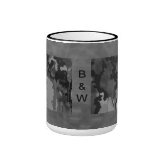 Abstract In Black And White Ringer Mug