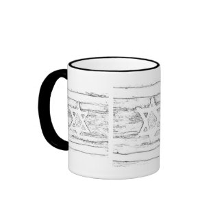 abstract israel black and white ringer mug