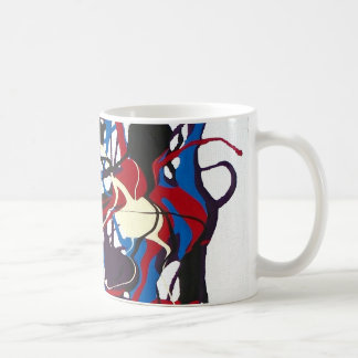 Abstract pattern blue, red, black, white. Modern. Basic White Mug