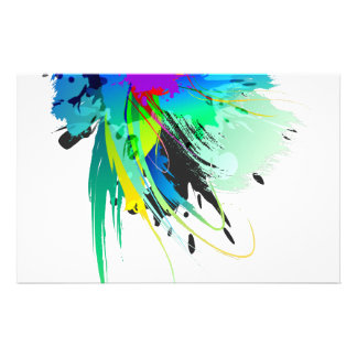 Abstract Peacock Paint Splatters Stationery