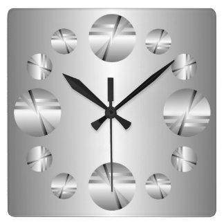 Abstract Silver Metallic Print Wall Clock