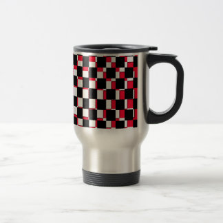 Abstract Square red black and white Stainless Steel Travel Mug