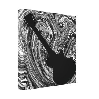 Abstract Swirls Guitar Canvas Print, Black & White Gallery Wrap Canvas
