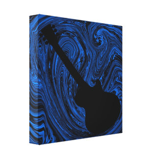 Abstract Swirls Guitar Canvas Print, Blue Canvas Print