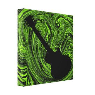 Abstract Swirls Guitar Canvas Print, Green Canvas Prints