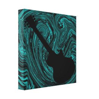 Abstract Swirls Guitar Canvas Print, Teal Canvas Print